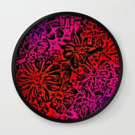 Marigold Lino Cut, Fuchsia Diagonal Gradient Wall Clock