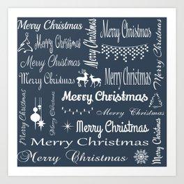 Merry Christmas typography Art Print