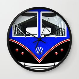 Blue Art Cute minibus Wall Clock