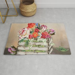 Country Flowers in a Wooden Crate Rug
