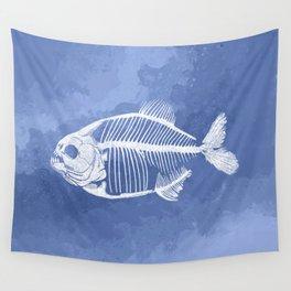 Memoria Amazonica - Blue Pastel Piranha Wall Tapestry