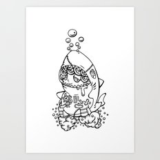 Shark's submarine Art Print