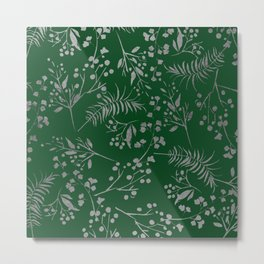 Forest green country chic faux silver floral leaves Metal Print