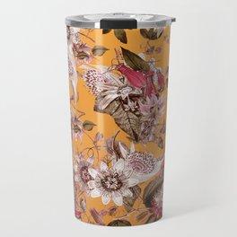 Passion Flower Floral Pattern on Orange Travel Mug