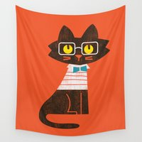 preppy Wall Tapestries featuring Fitz - Preppy cat by Picomodi