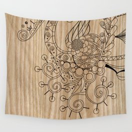 Tangle on wood Wall Tapestry