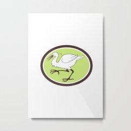 Egret Heron Crane Walking Cartoon Metal Print