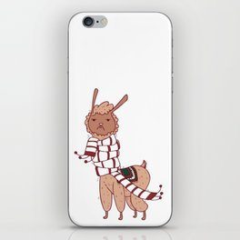 Unamused Llama Christmas Themed - Brown iPhone Skin