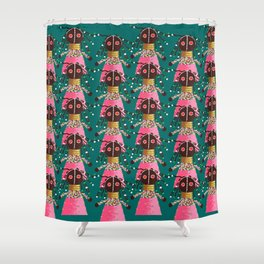 Girly african doll in pink dress Shower Curtain