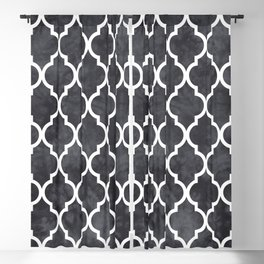 Classic Quatrefoil Lattice Pattern 421 Black and White Blackout Curtain