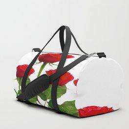 ORIGINAL GARDEN DESIGN OF RED ROSES ON WHITE Duffle Bag