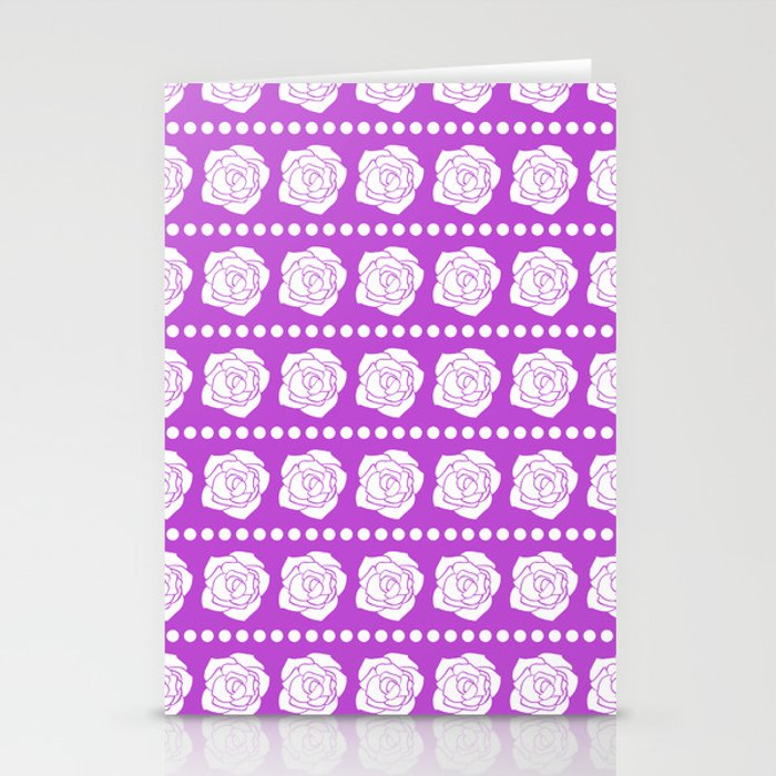 Simple White Roses - Purple BG Stationery Cards