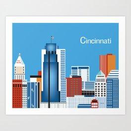 Cincinnati, Ohio - Skyline Illustration by Loose Petals Art Print