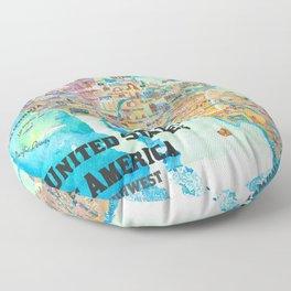 USA Southwest States Travel Poster Map - CA, AZ, NM, TX, NV, UT, CO Floor Pillow