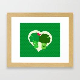 Broccoli in love Framed Art Print