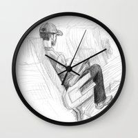 jfk Wall Clocks featuring ATH>JFK by vagabond visuals