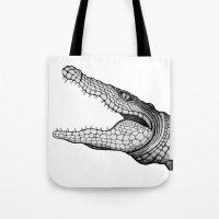 crocodile Tote Bags featuring Crocodile by Hannighan