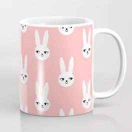 Bunny Rabbit pink and white spring cute character illustration nursery kids minimal floral crown Coffee Mug