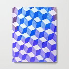 Blue Antic Tile Pattern Metal Print