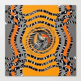 Zebra Tribal Sunset Canvas Print