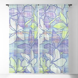 Yellow and blue flowers, plumerias floral print Sheer Curtain