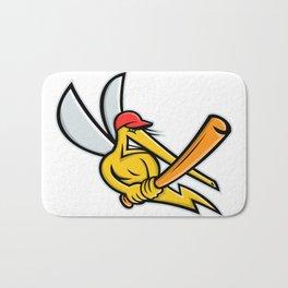 Mosquito Baseball Mascot Bath Mat