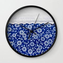 farmhouse blue floral Wall Clock