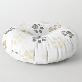 Doodle grey and gold paw print seamless fabric design repeated pattern background Floor Pillow
