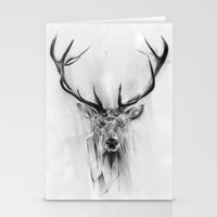geometric Stationery Cards featuring Red Deer by Alexis Marcou