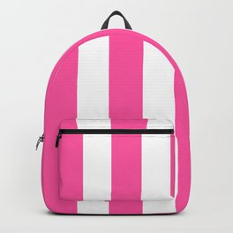Brilliant rose fuchsia - solid color - white vertical lines pattern Backpack