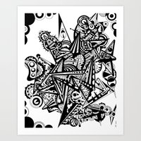 andreas preis Art Prints featuring Black geometry by Andreas Handgruber by Artometrie.com