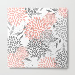 Floral Prints, Leaves and Blooms, Coral and Gray Metal Print
