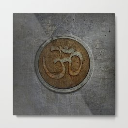 The sound of the Universe. Gold Ohm Sign On Stone Metal Print