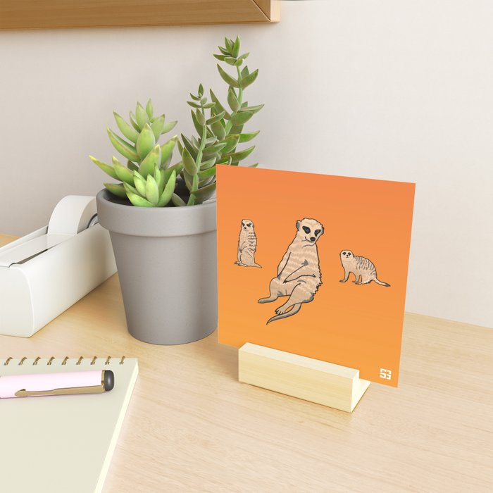 Alphabetic Animals: Orange Meerkats Mini Art Print