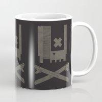 castlevania Mugs featuring Nes Skull by Hector Mansilla