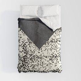 Black ivory confetti watercolor geometrical Comforters