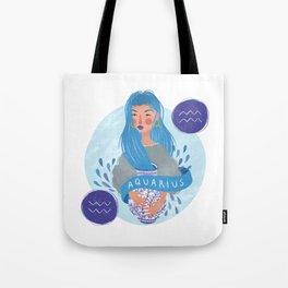 Aquarius Zodiac Illustration Tote Bag