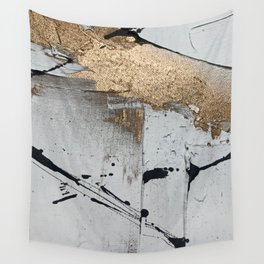 Still: an abstract mixed media piece in black, white, and gold by Alyssa Hamilton Art Wall Tapestry