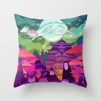 spirited away Throw Pillows featuring Spirited Away by Jen Bartel