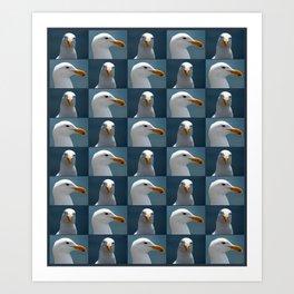 Seagull Faces Art Print