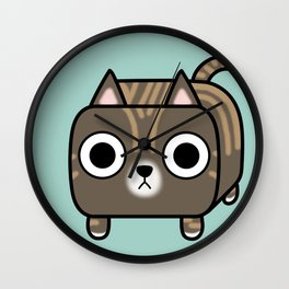 Cat Loaf - Brown Tabby Kitty Wall Clock