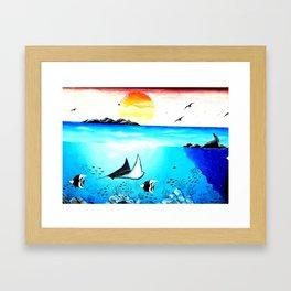 Beautiful Underwater Scene Painting Framed Art Print