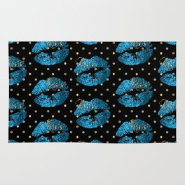 Blue Turquoise Glitter Lip Pattern Rug