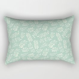 Painted Leaves - a pattern in cream on soft mint green Rectangular Pillow