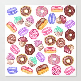 Yummy Hand Painted Watercolor Desserts Canvas Print