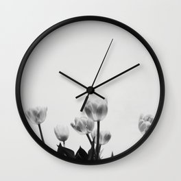 Black & White Tulips Wall Clock