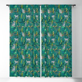 Lemurs in Teal Jungle Blackout Curtain
