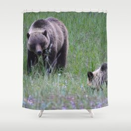 Grizzly mother & cub in Jasper National Park | Canada Shower Curtain