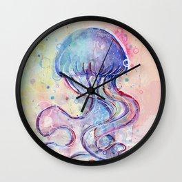 Jellyfish Watercolor Wall Clock