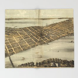 Vintage Pictorial Map of Madison Wisconsin (1867) Throw Blanket
